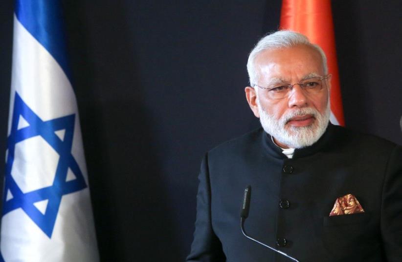 Indian Prime Minister Narendra Modi in Jerusalem, July 5, 2017 (photo credit: MARC ISRAEL SELLEM/THE JERUSALEM POST)