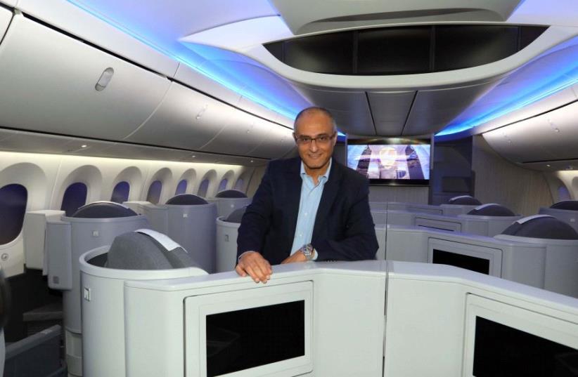 El Al CEO David Maimon in a new Dreamliner 787 aircraft (photo credit: SIVAN FARAG)