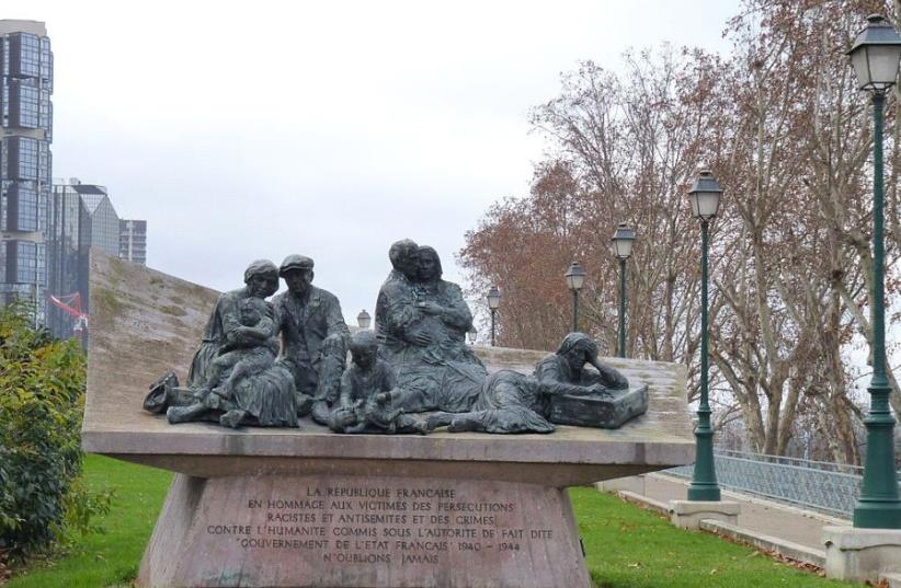 Vel' d'Hiv Monument - More than 13,000 French Jews were rounded up in Paris by the Nazis in 1942. (photo credit: LEONIEKE AALDERS VIA WIKIMEDIA COMMONS/CC BY-SA 3.0)