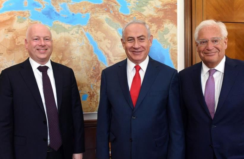 Greenblatt, Netanyahu and Friedman (photo credit: CHAIM ZACH / GPO)