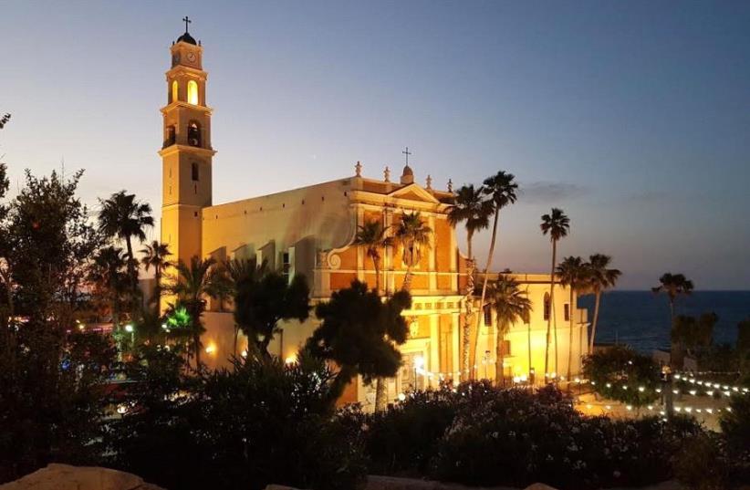 St. Peter's Church in Jaffa, Israel at night (photo credit: BECKY BROTHMAN)