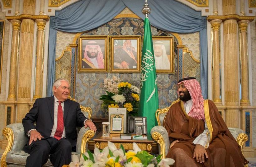 Saudi Crown Prince Mohammed bin Salman meets with US Secretary of State Rex Tillerson in Jeddah, Saudi Arabia July 12, 2017 (photo credit: REUTERS)