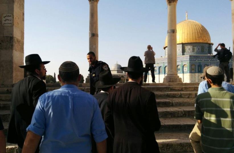 Jewish visitors in Temple Mount (photo credit: ARNON SEGAL)