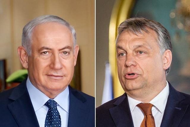 Netanyahu and Orban (photo credit: WOJTEK RADWANSKI / AFP PHOTO / AFP,THOMAS COEX / AFP)