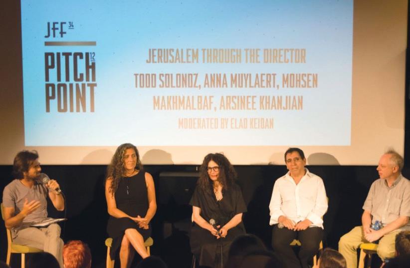 INTERNATIONAL FILMMAKERS (from left) Elad Keidan, Anna Muylaert, Arsinée Khanjian, Mohsen Makhmalbaf and Todd Solondz participate in a panel discussion at the Jerusalem Cinematheque (photo credit: OREN MYERS/JFF)