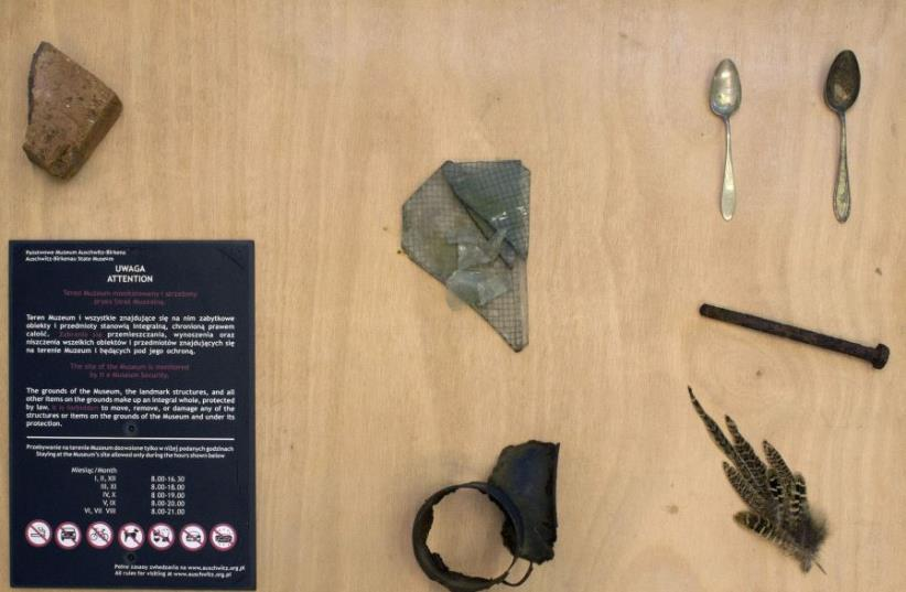 Some of the artifacts allegedly stolen from the Auschwitz Museum by art student Rotem Bides.  (photo credit: COURTESY OF BEIT BERL COLLEGE)