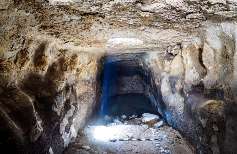 A view from inside the ancient reservoir (photo credit: ASSAF PEREZ, COURTESY OF IAA)