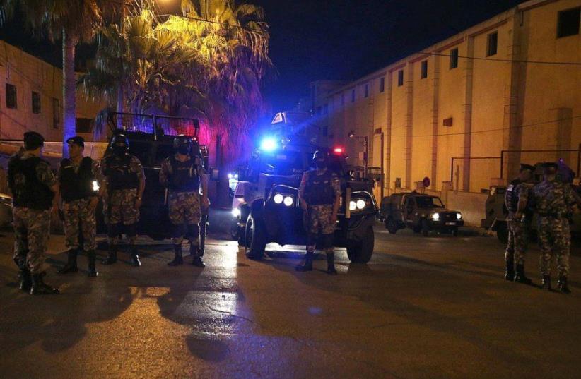 Jordanian police outside Israeli embassy in Amman  (photo credit: SOCIAL MEDIA)