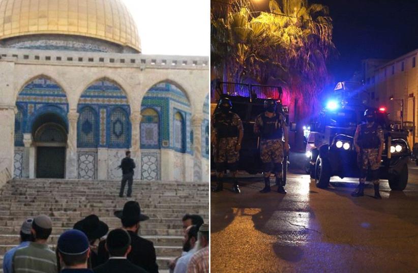 Temple Mount and Israeli embassy in Jordan (photo credit: KHALIL MAZRAAWI / AFP,ARNON SEGAL)