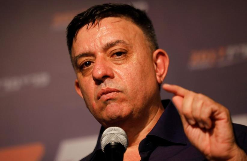 Avi Gabbay, the leader of Israel's centre-left Labour party, delivers his victory speech after winning the Labour party primary runoff, at an event in Tel Aviv, Israel July 10, 2017. (photo credit: REUTERS)
