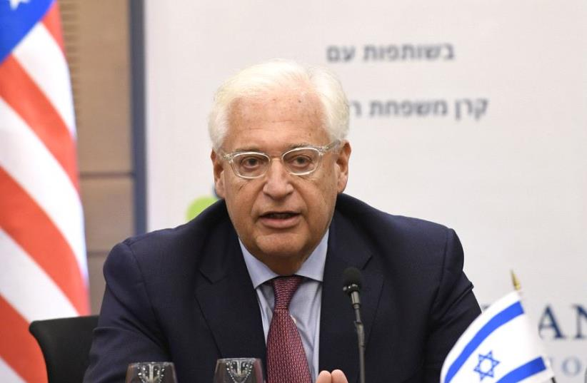 US Ambassador David Friedman at the knesset (photo credit: MATTY STERN, US EMBASSY TEL AVIV)