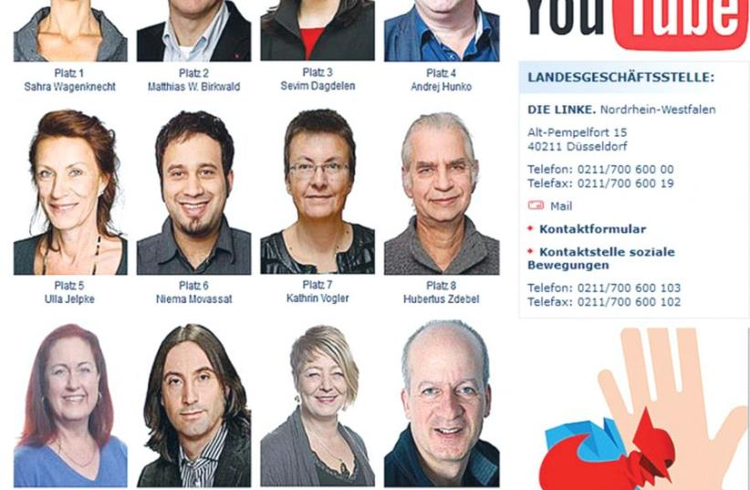 MEMBERS OF Germany's Left Party in North Rhine-Westphalia who were candidates for the Bundestag appear on the organization's website. (photo credit: screenshot)