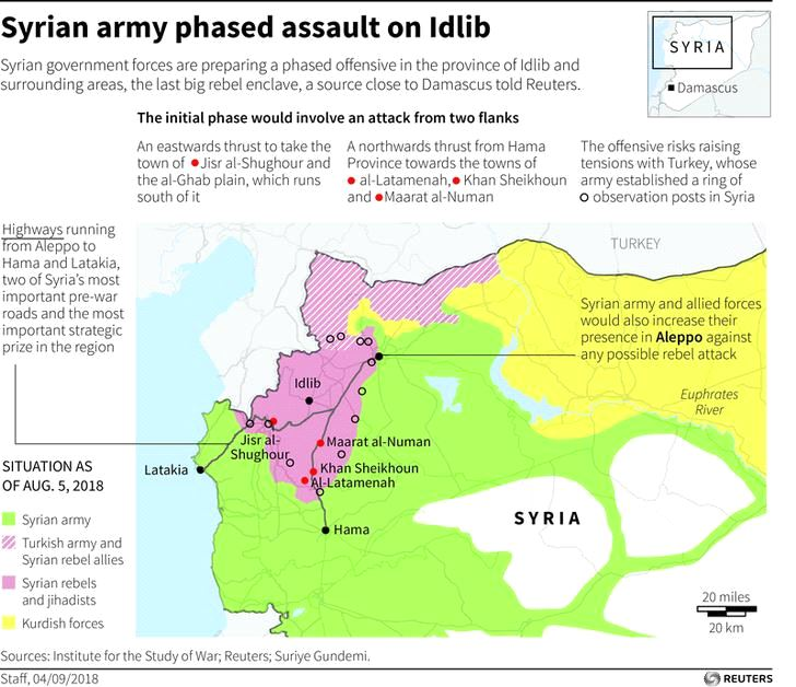 Syrian government forces are preparing a phased offensive in the province of Idlib and surrounding areas - map (REUTERS PHOTOGRAPHER)