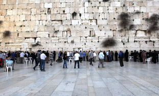 The Western Wall plaza was almost empty yesterday,