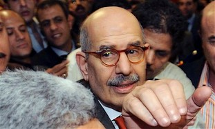 Egyptian supporters surround ElBaradei as he arriv