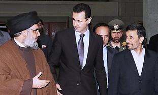 Nasrallah, Assad and Ahmadinejad on Thursday - Photo: courtesy