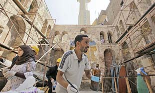 Restoration work at the Maimonides Synagogue