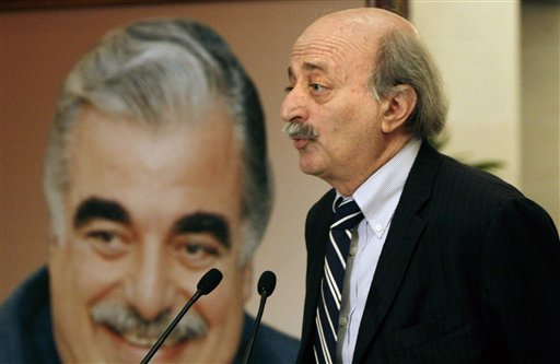 Druse leader Walid Jumblatt speaks during a press