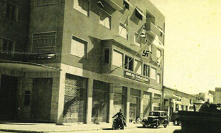Nazi flag flying over German consulate in Jaffa