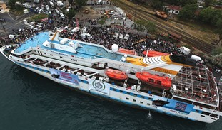 THE 'MAVI Marmara', as it set sail from Turkey. Be
