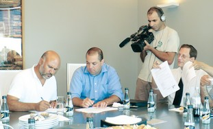 HISTORIC SIGNING of Negev land lease deal. From le