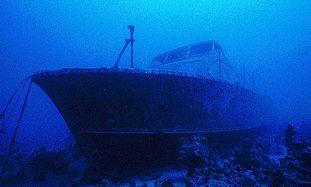 Sunken wreck diving