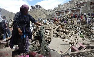 Flood-ravaged Ladakh, India