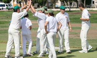 RA'ANANA cricket players celebrate.