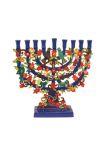 Emanuel Hand Painted Metal Hanukkah Menorah – traditional design