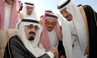 Saudi King Abdullah with Prince Abdel Aziz