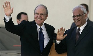Mitchell and Erekat in Ramallah, Tuesday