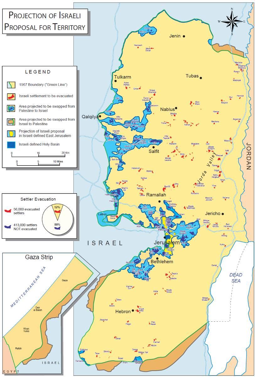 Carte Judée Samarie proposition d'Olmert à Abbas en 2008