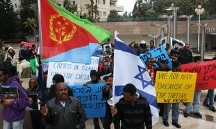 Eritrean protesters in Ramat Gan