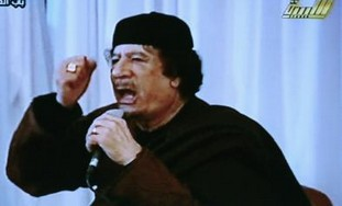 Gaddafi gives live address on Libyan state TV