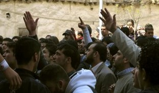 Syrians shout slogans in support of protesters