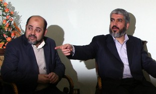 Hamas leaders Khaled Meshaal, Moussa Abu Marzouk -Photo: Khaled Al Hariri / Reuters