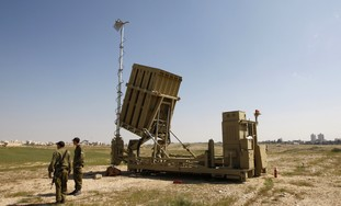The Iron Dome anti-rocket defense system.