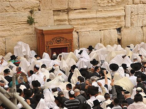 Kohanim bless the crowd at the Kotel