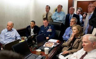 Situation Room watches update on bin Laden raid.