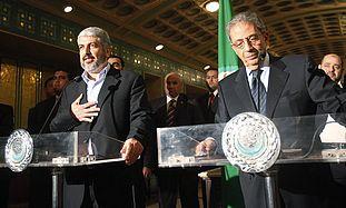 Khaled Mashaal and Amr Moussa