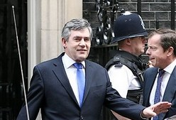 UK Premier Gordon Brown leaves 10 Downing Street,