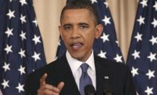 Us President Barack Obama gives speech
