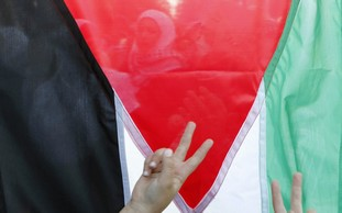 Victory signs flashed in front of Palestinian flag - Photo: REUTERS/Ali Jarekji
