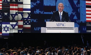 Netanyahu on the sceen at AIPAC