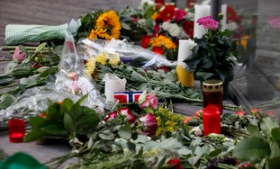 Flowers laid in memory of Norway massacre victims