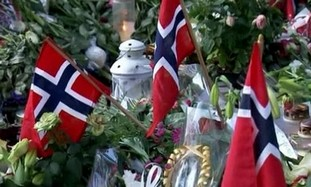 Floral tributes in Oslo
