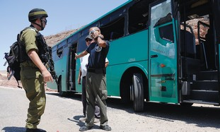 Soldier at bombed Eilat bus