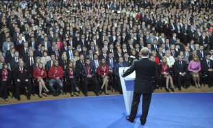 Vladimir Putin addresses United Russia congress.