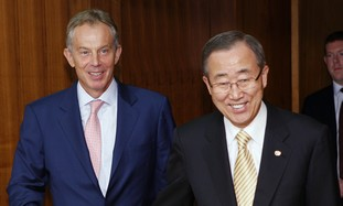 UN Sec.-Gen. Ban Ki-moon and Tony Blair