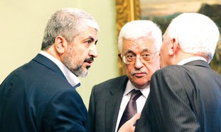 Khaled Mashaal and Mahmoud Abbas.